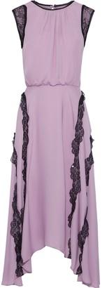 Jason Wu Asymmetric Lace-trimmed Gathered Silk-chiffon Dress