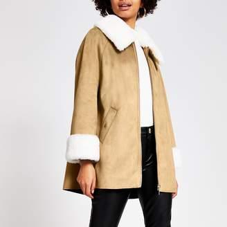 River Island Womens Brown suedette faux fur trim cape jacket