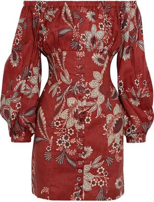 Zimmermann Juno Off-the-shoulder Floral-print Linen Mini Dress