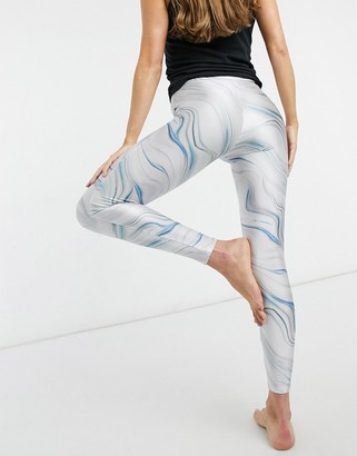 Miss Selfridge yoga marble print leggings in blue