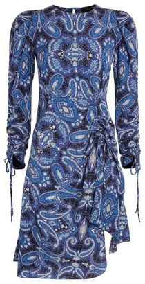 Etro Ruched Paisley Mini Dress