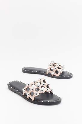 Nasty Gal Womens On The Other Slide Studded Cage Sliders - Pink - 3
