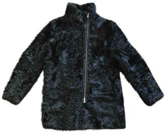 Sandro Black Mongolian Lamb Coat for Women