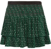 Vanessa Bruno Flynn Pleated Embroidered Crepe Mini Skirt - Green