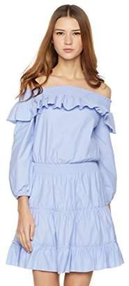 Plumberry Women's Solid Off-Shoulder ruffler Layered Dress