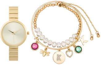 ALEXIS BENDEL Alexis Bendel K Initial Womens Gold Tone 3-pc. Watch Boxed Set-7168g-42-A27