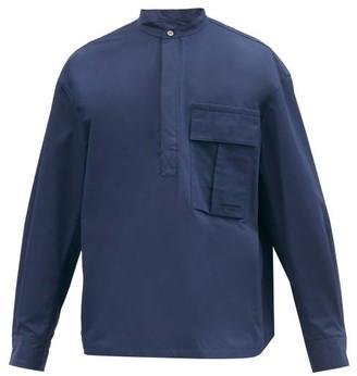 Wooyoungmi Oversized Band-collar Cotton Shirt - Navy