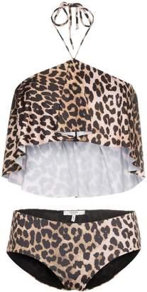 Ganni Avalon leopard print ruffle bikini