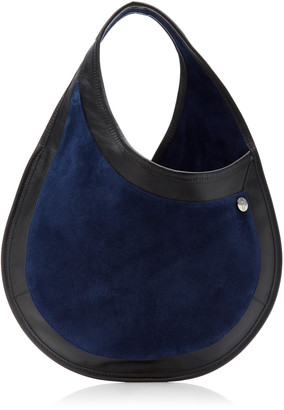 Hayward Tear Drop Small Leather-Trimmed Suede Shoulder Bag