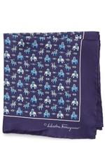 Salvatore Ferragamo Men's Elephant Print Silk Pocket Square