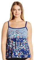 Maxine Of Hollywood Plus Size Tropical Wire-Free Tankini Top