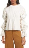 Sea Women's Eyelet Puff Sleeve Sweater