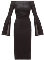 Roland Mouret Anina Off-the-shoulder Lame And Cady Dress - Womens - Black