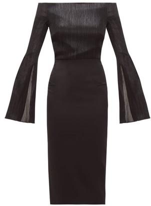 Roland Mouret Anina Off-the-shoulder Lame And Cady Dress - Black