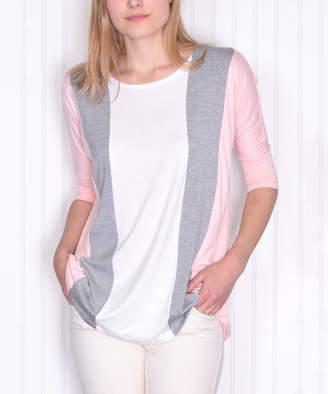 Pastels Women's Tee Shirts Pink - Gray & Pink Color Block Three-Quarter Sleeve Tee - Women