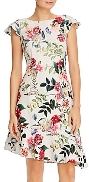 Adrianna Papell Parisian Garden Print Ruffled Dress
