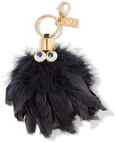 Sophie Hulme Sam Leather-trimmed Feather Keychain - Black