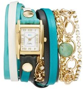 La Mer Leather & Chain Wrap Bracelet Watch, 28mm
