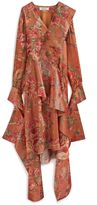 Mulberry Scarlett Dress Rust Floral Shiny Silk