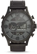 Fossil Nate Analog-Digital Black Leather Watch