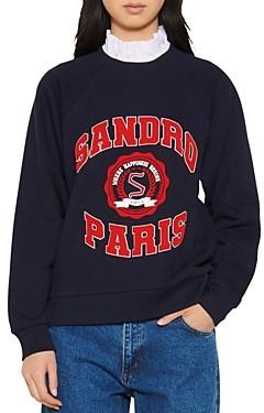 Sandro Blason Ruffled Collar Layered-Look Sweatshirt