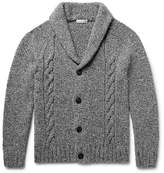 Etro Shawl-collar Cable-knit Wool And Cashmere-blend Cardigan - Dark gray