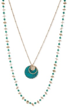 """lonna & lilly Gold-Tone Stone Disc & Bead Layered Necklace, 36"""" + 3"""" extender"""