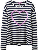 Joules Little Joule Girls' Cora Heart Top, Navy