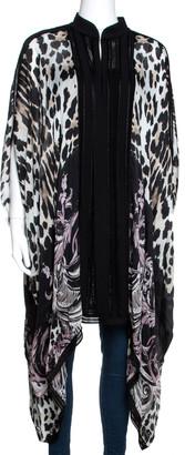 Roberto Cavalli Multicolor Animal Printed Silk Short Kaftan Dress M