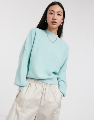 Selected jumper with balloon sleeve in green