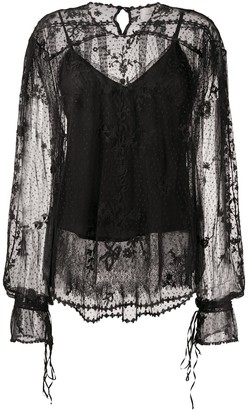 Preen by Thornton Bregazzi Lace-Pattern Sheer Blouse
