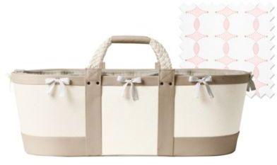 Sausalito Moses Basket Flax/Pink Scroll Sheet