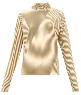 J.W.Anderson Roll-neck Striped Cotton-blend Top - Beige White