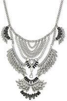 BCBGeneration Silver-Tone Tiered Feather Bib Necklace