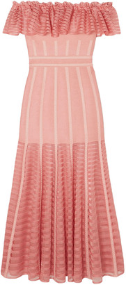 Alexander McQueen Off-the-shoulder Ruffled Jacquard-knit Midi Dress