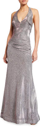 LM Collection Long Metallic Knit V-Neck Halter Gown