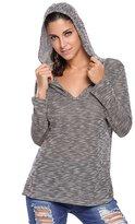 Foryingni Women's Long Sleeve V Neck Knitted Hooded Top L