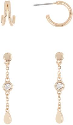 Halogen Bezel Stone Linear Huggie Earrings Set