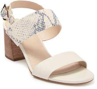 Cole Haan Avani City Leather Snakeskin Embossed Block Heel Sandal