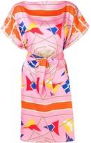 MSGM nautical print belted midi dress