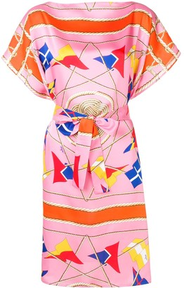 MSGM Nautical Print Belted Midi Dress
