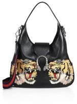 Gucci Medium Dionysus Tiger-Embroidered Leather Hobo