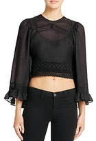 McQ Lace-Trim Peasant Crop Top
