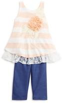 Pippa & Julie Infant Girls' Striped Top & Faux Denim Leggings Set - Sizes 12-24 Months