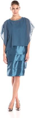 Maya Brooke Women's Jewel Trim Ponco Dress