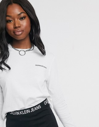 Calvin Klein Institutional long sleeved cropped logo t-shirt-White