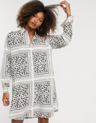 Liquorish shirt dress in scarf and animal print-Multi