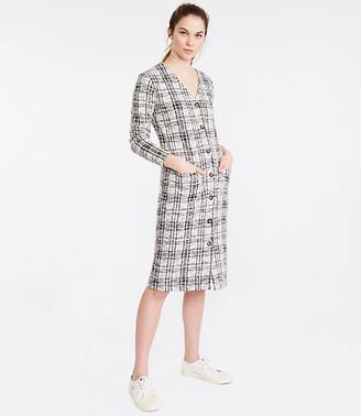 Lou & Grey Textured Plaid Cardigan Dress