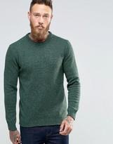 Asos Lambswool Rich Crew Neck Sweater in Green Twist