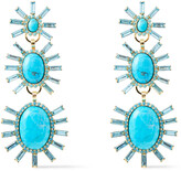Thumbnail for your product : Elizabeth Cole 24-karat Gold-plated, Turquoise And Swarovski Crystal Earrings